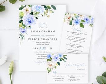 Editable Blue Floral Wedding Invitation Suite, Blue White Greenery RSVP Details, Printable Template, Cornflower Blue, Instant Download 547-A