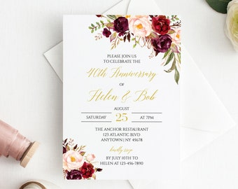 Blush Burgundy Gold Floral Editable Anniversary Party Invitation, Boho 25th 30th 40th 50th Anniversary DIY Template, Instant Download 512-A