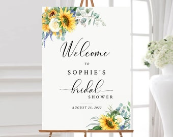Editable Sunflower Bridal Shower Welcome Sign, Yellow Floral Eucalyptus Shower Sign, 16 x 20 18 x 24 24 x 36 Template Inst Download 565-A