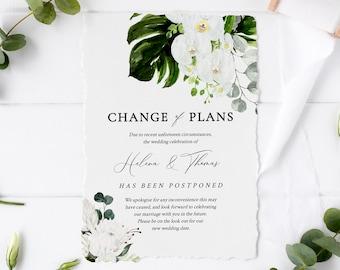 Tropical Floral Editable Change of Plans, Orchid Protea Postponed Wedding Announcement Template, Postponement Evite, Instant Download, 546-A