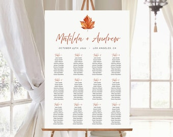 Fall Editable Table Plan, Maple Leaf Minimal Printable Seating Chart, 18 x 24 24 x 36, A1 A2, Seating Chart Template, Instant Download 567-A