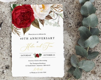 Gold Blush Burgundy Floral Editable Anniversary Party Invitation, Red 25th 30th 40th 50th Anniversary DIY Template, Instant Download 539-A