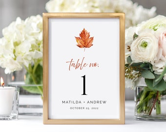 Personalized Table Numbers Wedding Table Numbers Tags Gold Leaves