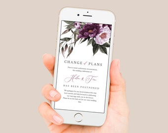 Editable Change of Plans, Plum Lilac Postponed Wedding Date Template, Purple Floral Digital Text Message Social Media Instant Download 527-A