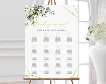 Printable Seating Chart, Gold Green Geometric Editable Table Plan, 18 x 24 24 x 36, A1 A2, Seating Chart Template, Instant Download, 538-A