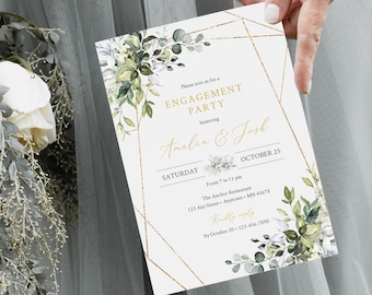 Foliage Gold Engagement Party Invitation, Editable Greenery Gold Geometric Invite, DIY Template, Instant Download, Templett, 538-A