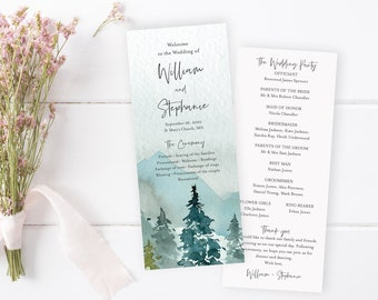Editable Woodland Program, Rustic Wedding Program, Mountains Printable, Outdoors DIY Template, Instant Download, Templett, 531-A