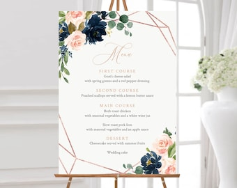 Editable Menu Sign, Navy Blush Rose Gold Floral Wedding Menu Board, Buffet Sign, Menu Poster Drinks Bar Sign Template Instant Download 529-A