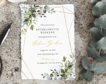 Greenery Gold Geometric Editable Bachelorette Party Invitation, Itinerary, Bachelorette Weekend Printable Template, Instant Download, 538-A