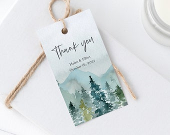 Editable Woodland Rustic Tags, Printable Mountains Favor Tags, Forest Outdoor Wedding Gift Tag, DIY Template Instant Download Templett 531-A