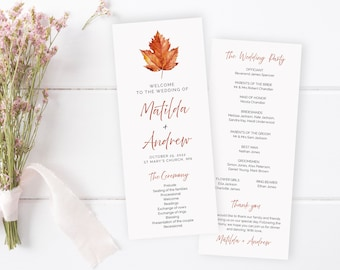 Editable Maple Leaf Program, Burnt Orange Minimalist Wedding Program, Simple Fall Autumn Printable Program Template, Download Templett 567-A