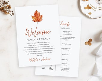 Fall Maple Leaf Editable Welcome Bag Letter Itinerary, Wedding Timeline, Minimalist Printable Order Events, Template Instant Download 567-A