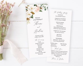 White Pink Greenery Floral Wedding Program, Magnolia Cotton Editable Program, Printable DIY Template, Instant Download Templett 524-A