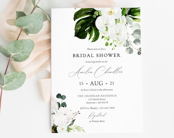 Editable Protea Orchid Bridal Shower Invitation, Tropical Floral Shower Invite DIY Template, Greenery Printable, Instant Download, 546-A