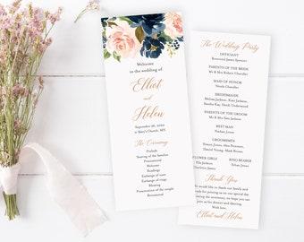 Rose Gold Navy Blush Boho Editable Program, Floral Wedding Program, Pink Printable Program, DIY Template, Instant Download Templett 542-A