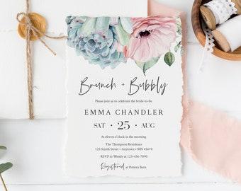 Blue Blush Succulent Brunch Invite DIY Template, Editable Brunch & Bubbly Invitation, Printable Invite, Instant Download, 535-A
