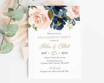 Editable Rose Gold Pink Navy Floral Engagement Party Invitation, Blue Blush Engagement Invite DIY Template, Instant Download, Templett 542-A