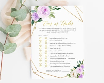 Editable Lilac Gold Geometric Over or Under Game, Lavender Printable Bridal Shower Game, Purple Floral Template, Instant Download 511-A