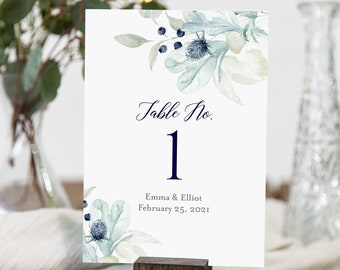 Winter Wedding Floral Editable Table Numbers, Navy Silver Gray Printable Table Numbers, Blue DIY Template, Instant Download, Templett 544-A