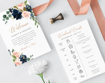 Rose Gold Navy Blush Editable Welcome Bag Letter Itinerary, Floral Wedding Timeline, Printable Order Events, Template Instant Download 542-A