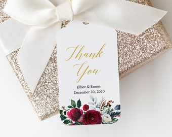 Christmas Cranberry Gold Floral Editable Tags, Printable Spruce Favor Tags, Winter Wedding, DIY Template, Instant Download, Templett, 543-A