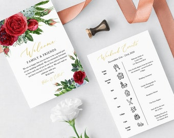 Editable Red Rose Welcome Bag Letter Itinerary, Red Green Gold Wedding Timeline, Printable Order of Events Template Instant Download 541-A