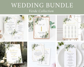 Editable Wedding Bundle, Greenery Gold Geometric Printable Invitation Suite Sign Menu Seating Chart Program, Templett Instant Download 538-A