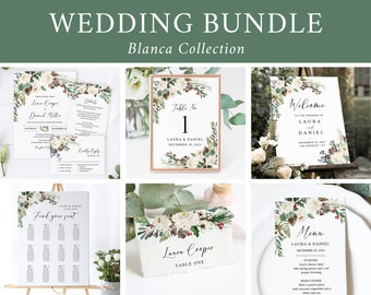 Editable Rustic Winter Wedding Bundle, White Printable Invitation Suite Sign Menu Seating Chart Program, Templett Instant Download 569-A
