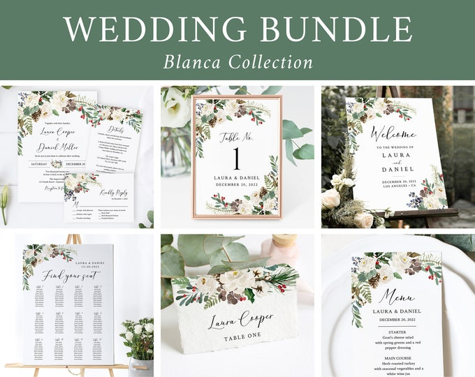 Featured listing image: Editable Rustic Winter Wedding Bundle, White Printable Invitation Suite Sign Menu Seating Chart Program, Templett Instant Download 569-A
