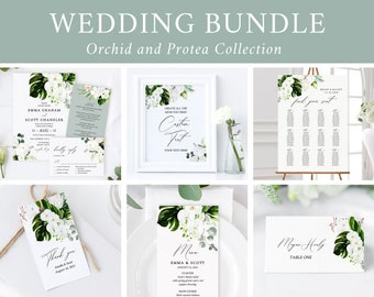 Editable Orchid Protea Floral Wedding Bundle, Printable Invitation Suite Sign Menu Seating Chart Program, Templett, Instant Download 546-A