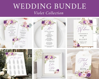 Editable Purple Boho Floral Wedding Bundle, Lilac Printable Invitation Suite Sign Menu Seating Chart Program Templett Instant Download 530-A