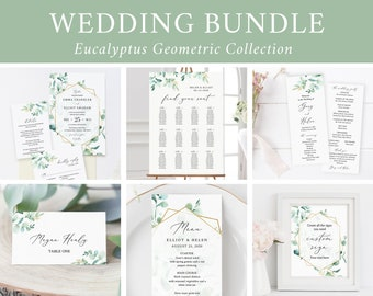 Editable Eucalyptus Gold Geometric Wedding Bundle Printable Invitation Suite Sign Menu Seating Chart Program Templett Instant Download 533-A