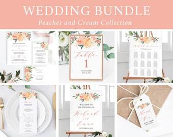 Editable Peach Blush Boho Floral Wedding Bundle, Printable Invitation Suite Sign Menu Seating Chart Program, Templett Instant Download 501-A