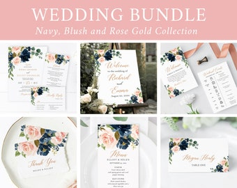 Rose Gold Navy Blush Editable Wedding Bundle, Printable Invitation Suite Sign Menu Seating Chart Program Templett Instant Download 542-A
