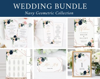 Editable Navy Blush Geometric Wedding Bundle, Printable Invitation Suite Sign Menu Seating Chart Program, Templett Instant Download 529-A
