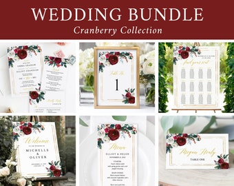 Editable Cranberry Floral Wedding Bundle, Winter Printable Invitation Suite Sign Menu Seating Chart Program Christmas Instant Download 543-A