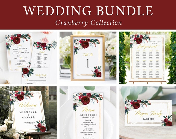 Featured listing image: Editable Cranberry Floral Wedding Bundle, Winter Printable Invitation Suite Sign Menu Seating Chart Program Christmas Instant Download 543-A