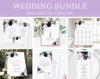 Editable Lilac Navy Floral Wedding Bundle, Printable Boho Invitation Suite Signs Menu Seating Chart Program, Templett Instant Download 556-A