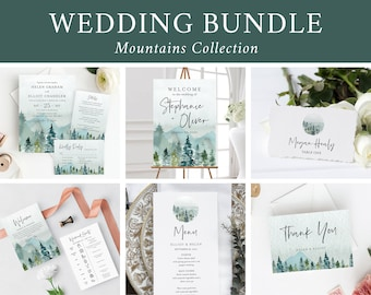 Editable Mountains Wedding Bundle Rustic Woodland Printable Invitation Suite Sign Menu Seating Chart Program Templett Instant Download 531-A