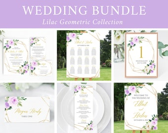 Editable Lilac Gold Geometric Wedding Bundle, Printable Invitation Suite Sign Menu Seating Chart Program, Templett, Instant Download 511-A