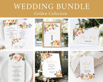 Printable Gold Blush Fall Floral Wedding Bundle, Editable Invitation Suite Sign Menu Seating Chart Program, Templett, Instant Download 540-A