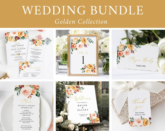 Featured listing image: Printable Gold Blush Fall Floral Wedding Bundle, Editable Invitation Suite Sign Menu Seating Chart Program, Templett, Instant Download 540-A
