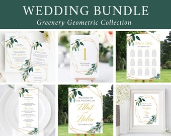 Editable Foliage Gold Geometric Wedding Bundle, Printable Invitation Suite Sign Menu Seating Chart Program, Templett Instant Download 504-A