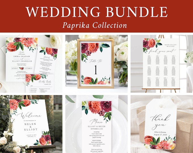 Featured listing image: Fall Floral Editable Wedding Bundle, Burgundy Printable Invitation Suite Sign Menu Seating Chart Program, Templett, Instant Download 534-A