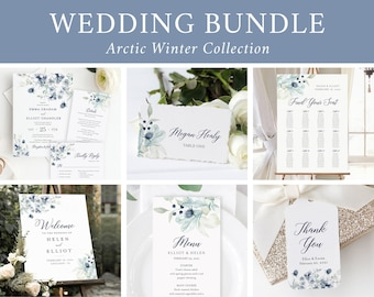Navy Gray Floral Editable Wedding Bundle, Winter Printable Invitation Suite Sign Menu Seating Chart Program, Templett Instant Download 544-A