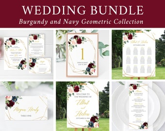 Editable Burgundy Gold Geometric Wedding Bundle, Printable Invitation Suite Sign Menu Seating Chart Program, Templett Instant Download 518-A