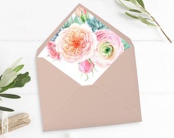 Printable Blush Peach Floral Envelope Liner, Succulent Envelope Liner, Boho Pink Roses Peonies, Watercolor, A7 Liner Instant Download 554-A