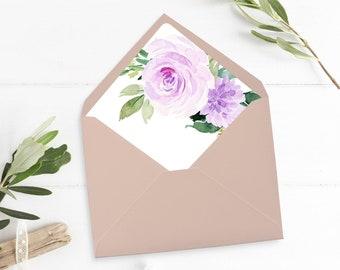 Purple Floral Printable Envelope Liner, Lavender Boho Floral Envelope Liner, Lilac Greenery, Watercolor Rose A7 Liner Instant Download 511-A