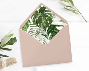 Printable Monstera Envelope Liner, Tropical Greenery Envelope Liner, Palm Foliage, Watercolor Botanical, A7 Liner Instant Download 550-A