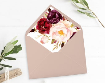 Marsala Floral Envelope Liner, Printable Boho Floral Envelope Liner, Burgundy, Watercolor Flowers, A7 Floral Liner, Instant Download 512-A